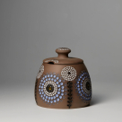 Ceramic sugar or jam pot with lid flower – grey
