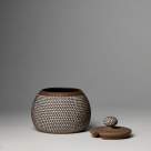 Ceramic sugar or jam pot with lid polka dot – grey