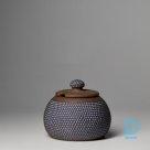 Ceramic sugar or jam pot with lid polka dot blue – grey
